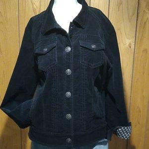 Tribal black corduroy jacket size large.